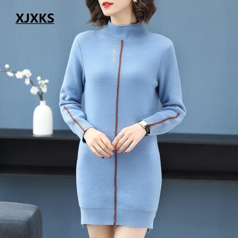 Half Del Di Rosso Blu Il Maglione Femme Vestito Xjxks Lungo Modo qZqx7fA