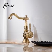 цены Hot Sale Basin Faucets Deck Mounted Single Handle Single Hole Bathroom Basin Mixer Tap Antique Bronze Crane Hot & Cold Water A2