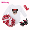 Baby Girl Bodysuits Fashion Cute Minne Print Body Neonata Cotton Baby Clothing Satin Dot Shorts 4pcs Girl Clothes Set YK&Loving