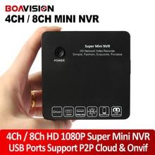 Boavision super mini nvr 4ch 8ch 1080 p hd de vídeo en red grabadora ONVIF 960 P Sistema de Seguridad de Vigilancia CCTV P2P Nube vista