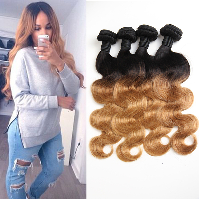10A Queen Weave Beauty Ombre Hair Extensions Brazilian Body Wave 4 Bundles 1b 27 Ombre Virgin Hair Remy Hair Bundles Grace Hair