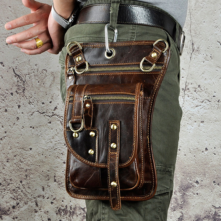 Men's Vintage Genuine Leather Thigh Drop Leg Bag Men Military Motorcycle Messenger Hip Belt Hook Fanny Pack Male Waist Bags New
