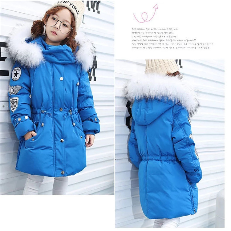 цены  Girl new tide of Korean long down jacket winter for size 4 5 6 7 8 9 10 11 12 years child cold proof down outerwear coat