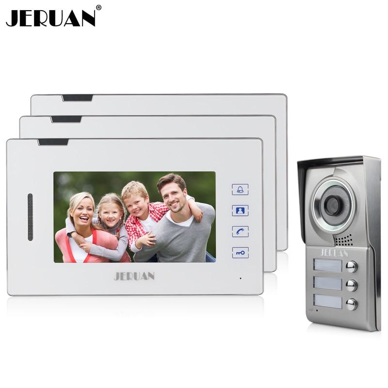 JERUAN 7 inch touch key video door phone intercom system doorphone doorbell 1V3 one to three video doorphone