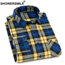 SHOWERSMILE Casual Shirts Plaid Cotton Shirt For Men Yellow Long Sleeve Spring Autumn Shirts 4xl Male Brand Clothing Red Black icpans 100% cotton casual shirts long sleeve regular vintage plaid shirt for men clothing 2019 spring blue big size xxxl