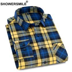 SHOWERSMILE Повседневное рубашки в клетку хлопковая рубашка для Для мужчин желтый с длинным рукавом Рубашки на весну-осень 4xl Мужская брендовая