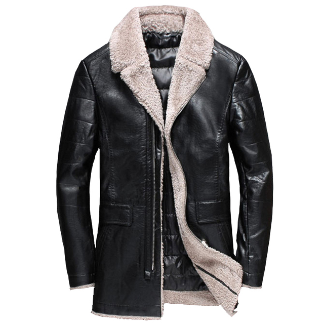 Fashion Collection Mens Faux Fur Leather Jacket For Russia Winter Male Clothes Branding For Men European and American Style C346