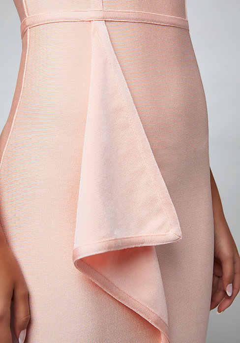 Розовое платье на одно плечо элегантные вечерние драпированные Бандажное платье Разделение подол Молния сзади довольно по колено облегающее платье вечерние платья LEGER Детка