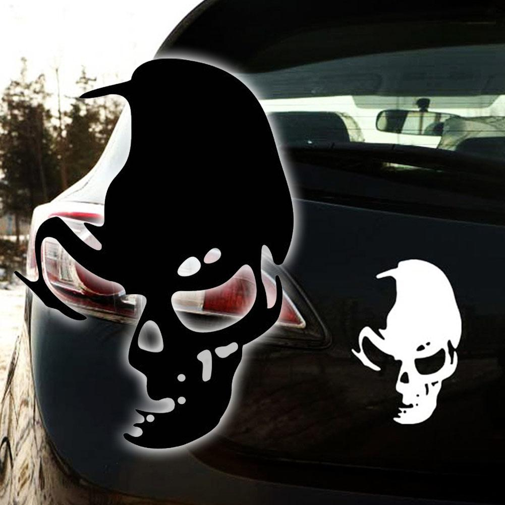 Bike stickers design online - Black Cool Skull Ghost Rear Side Door Reflective Car Truck Stickers Wall Decals Motor Bike A3
