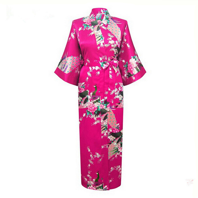Hot Pink Japanese Flower Kimono Dress Gown Sexy Lingerie Bathrobe Long Sleepwear Sauna Costume Wedding Robe Plus Size NR019