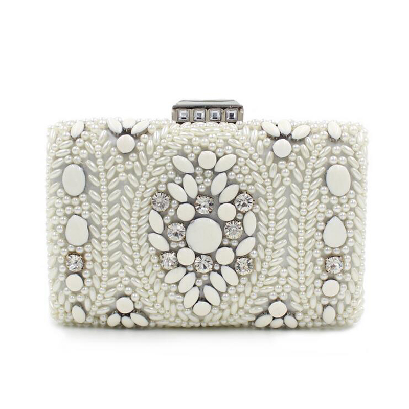 Women Party Handmade White Pearl Clutch Bag Bridal Wedding Beaded Hand bags Metal Clutches Hard Case Crystal Beading Evening Bag 2017 kazi 98405 wz 10 military helicopter blocks 480pcs bricks building blocks sets enlighten education toys for children