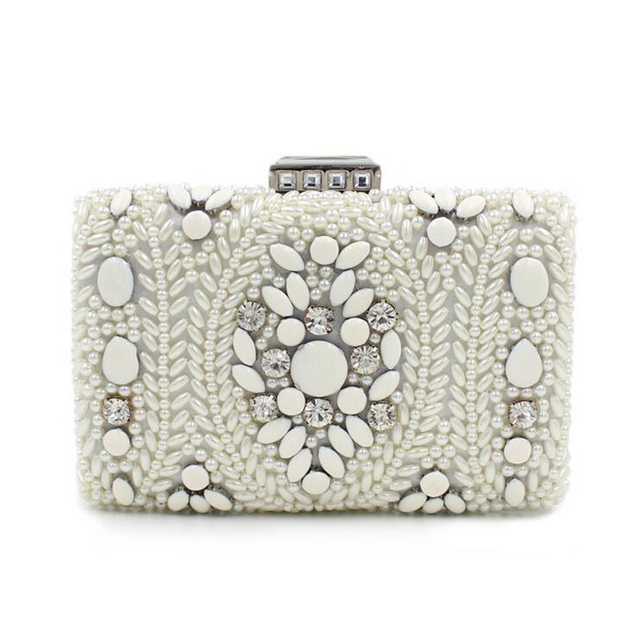 Women Party Handmade White Pearl Clutch Bag Bridal Wedding Beaded Hand Bags Metal Clutches Hard Case