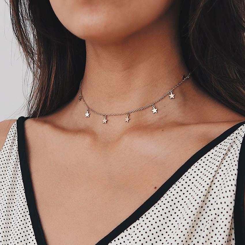 Boho Oro Colore star Pendente della collana Per La Ragazza collane a catena per le donne Kolye Bijoux Collares Mujer gargantilha Collier Femme
