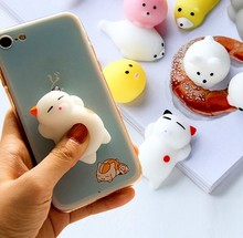 Creative Squishy Cute Cat bear squeeze animals slow rising Figurine Mochi Stretchy Decompress toy phone case DIY Kids Fun(China)