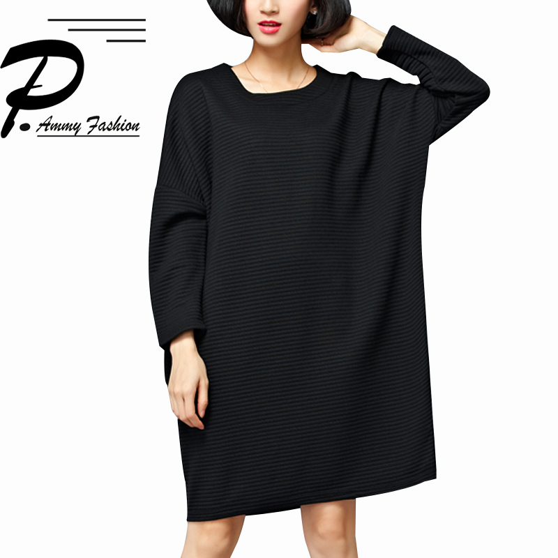 Women Padded Cotton Batwing Sleeves Loose Jumper Dress Ladies Autumn Winter Fashion Plus Size Warm Tunic Dress O-Neck Pullover