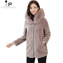 Winter Women Short Hoodies Fox Fur Collar Coat Korean Plus Size Warm Black Outerwear Womens Overcoat Faux Fur Jacket Coat 3XL(China)