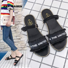 Letter Pattern Women's Summer Shoes Fashion Classic Flat Slippers Casual Fashionable Letter Pattern Women's Summer Shoes