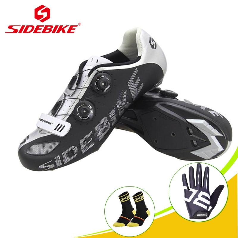 SIDEBIKE sapato ciclismo chaussures d'équitation de vélo baskets d'extérieur cyclisme sur route chaussures en Fiber Superfine vélo haute pression semelle en Nylon