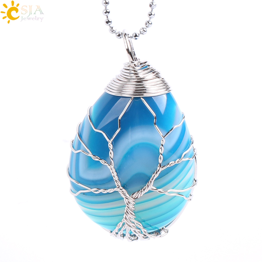 CSJA Gold Color Tree of Life Wire Wrap Water Drop Necklace & Pendant ...