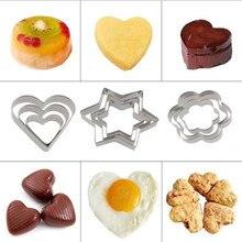 3PCS/SET Baking Mould Star Heart Flower Cookie Cutter Stainless Steel Egg Fondant Sugarcraft Biscuit DIY Mold