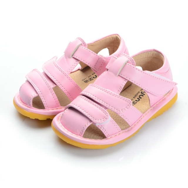 best service a6ea8 2e9fd Pink Closed Toe Baby Squeaky Sandals Baby Girl Sandals 1-3Y Soft Inner Toddler  Sandals