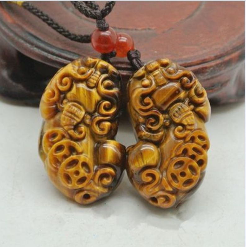 A Pair Of Natural Tiger Eye Stone The Mythical Wild Animal