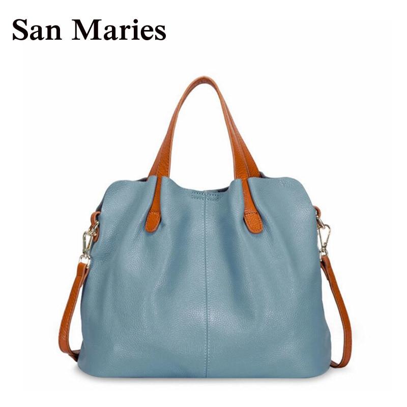 San Maries England Style Patchwork Lady Composite Bag Fashion Women Messenger Bags Genuine Leather Shoulder Handbag