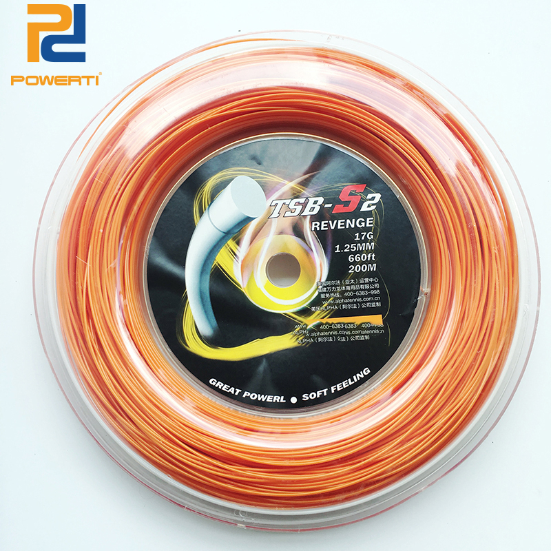 POWERTI 1.25mm Polyester Tennis String Revenge S2 Tennis Racket Training String High Flexibility Durable 200m reel new replacement 200m reel racquet tennis string power rough 1 25mm tennis racket string promotion soft nylon tennis racket line