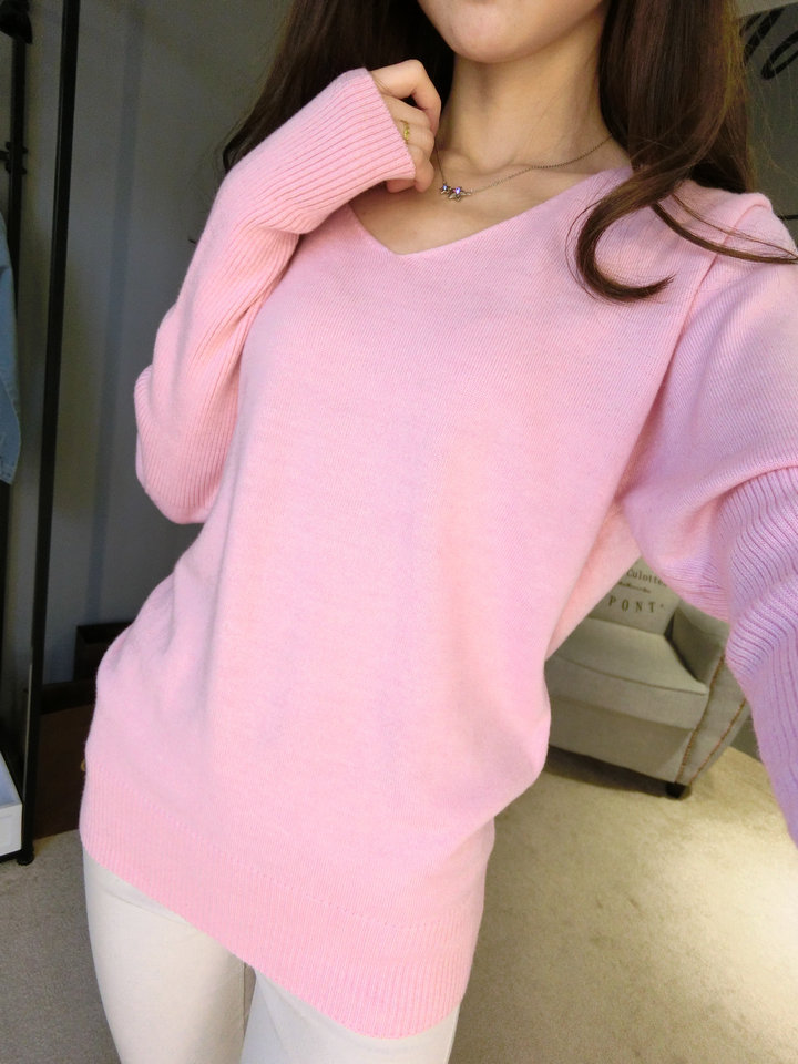 LOWEST-PRICE-Fashion-Women-s-Pullover-Sweater-Lady-V-neck-Batwing-Sleeve-Cashmere-Wool-Knitted-Solid (6)
