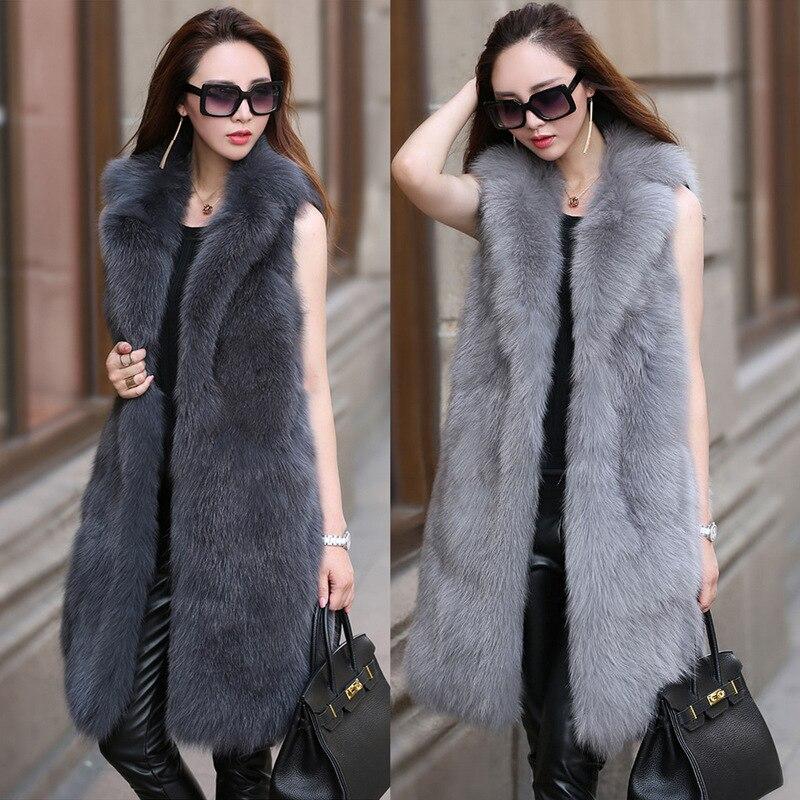 S-6XL New Fashion Fur Female High Imitation Fox Fur Vest Long Suit Collar Fox Fur Coat Women Winter Clothes