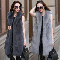 S 6XL New Fashion Fur female High Imitation Fox Fur Vest Long suit Collar Fox fur Coat Women Winter Clothes