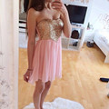 A-line 2016 New Lovely Summer Sexy Pink Chiffon Gold Sequin Mini Short Cocktail Dresses Party Dress robe de cocktail Customize