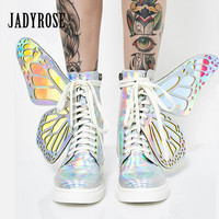 Jady Rose Cute Butterfly Wings Women Ankle Boots Fashion Flat Riding Boots Ladies Rubber Botas Mujer High Tops Platform Boot