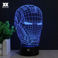 Superhéroe ilusión 3D Iron Man Mask Forma Luz de La Noche LED Lámpara de Mesa de Luces de Decoración como Regalo HUI YUAN marca
