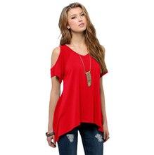 BF Leisure HIP HOP womens hot European and American style V-neck strapless short-sleeved fishtail irregular hem ladies T-shirt
