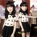 2017 Meninas do Verão Moda Dot Chiffon Set Roupas Criança T-shirt de Manga Curta + Culottes Calções 2 Pcs Crianças Roupas Twinset G440