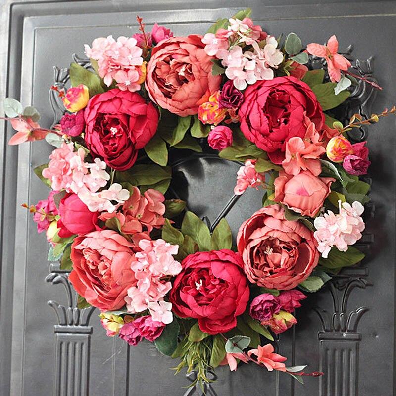 Wine Red Peony Cloth Simulation Flower Wreaths Handmade Garland Artificial Wreath Wall House Prop Wedding Decoration