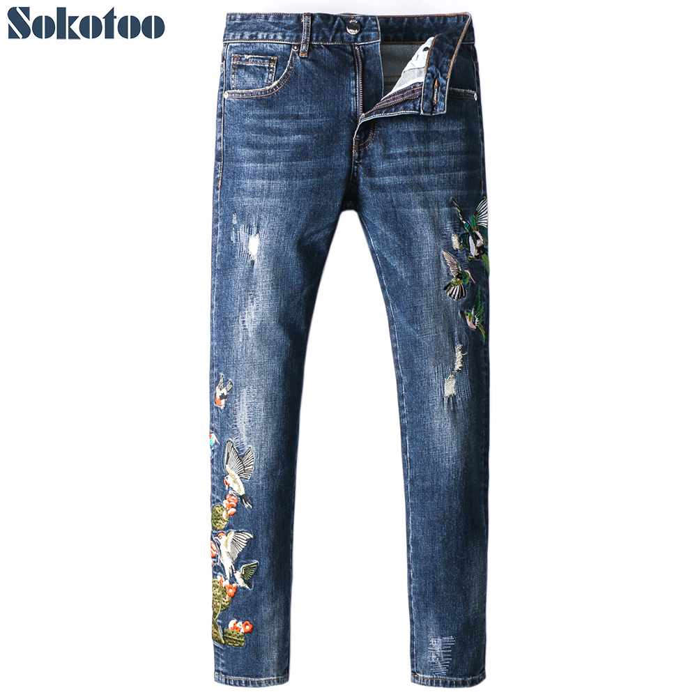 Sokotoo Men's slim birds embroidery denim   jeans   Fashion embroidered blue cotton pants