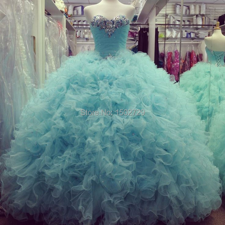 Real Photos Aqua Colored Quinceanera Dresses 2017 Vestido de 15 anos Crystals Tulle Lace-up Prom Ball Gowns Sweet 16 Dress
