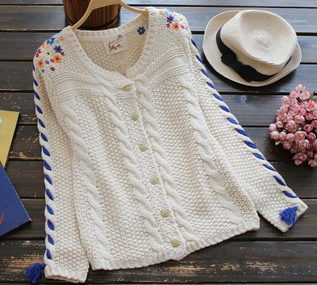Цветок вышивка витая о-образным шею рукав свитера кардиган