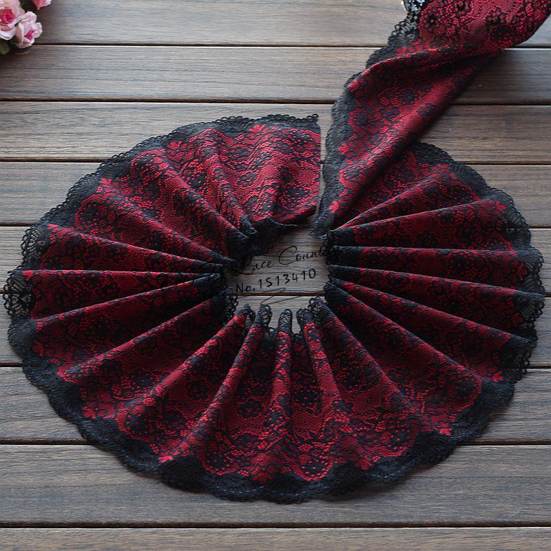18cm wide 2 yds/lot, Black + Crimson Handmade Hair Decoration Wide Elastic Stretch Lace Trim wedding dress skirt lace trim