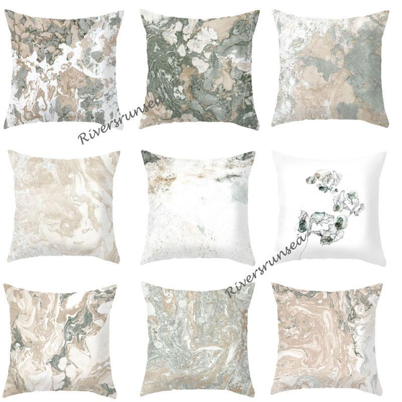 Modern Style Gray Corrugated Marble Cushion Fashion Geometric Printed Abstract Art Plush Pillow For Bedroom Living Room Sofa