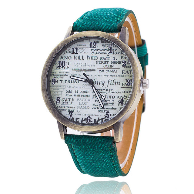 Vintage Jeans Strap Watch For Women Antique Leather Newpaper Watch Fashion Casual Wrist Watch Relogio Feminino Drop Shipping 778