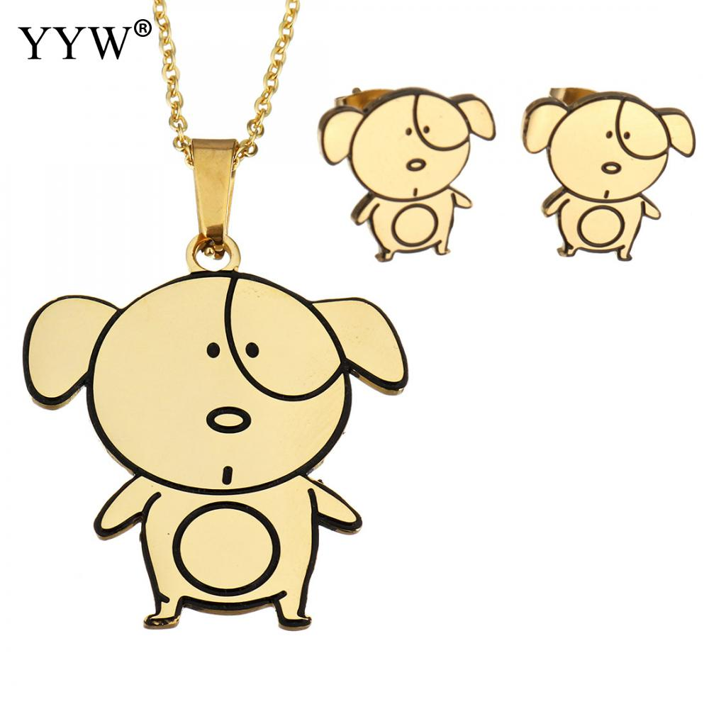 Cute Pig Stainless Steel Jewelry Set For Girl Women