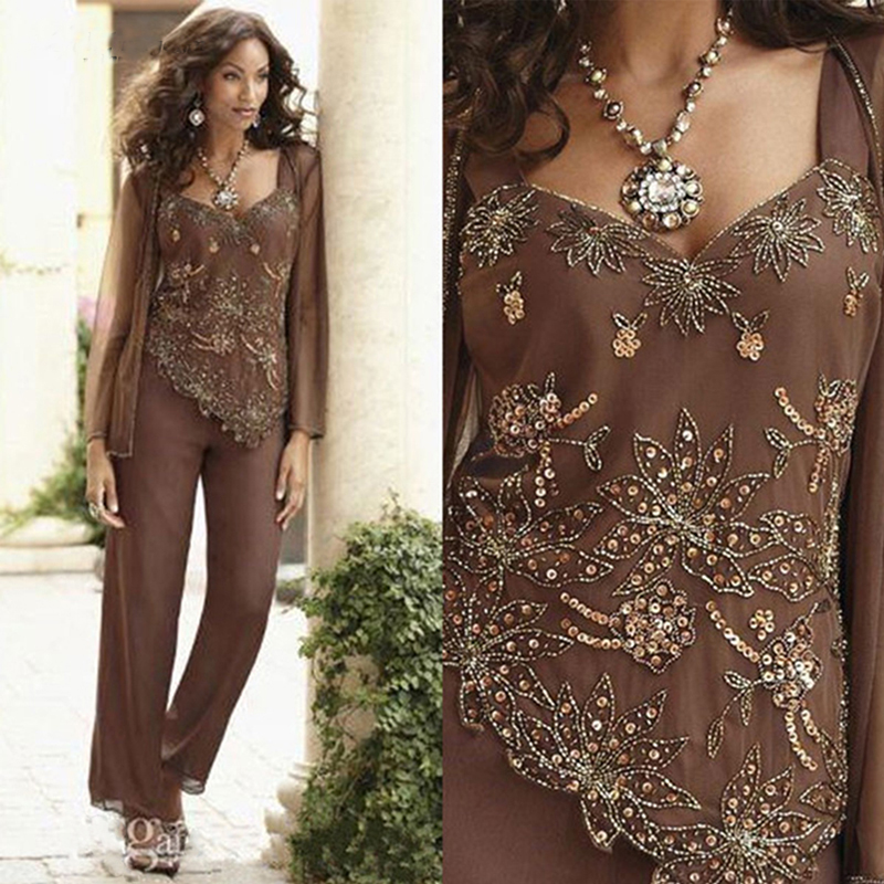 Sequin Beaded Mother Of The Bride Pant Suits With Jackets