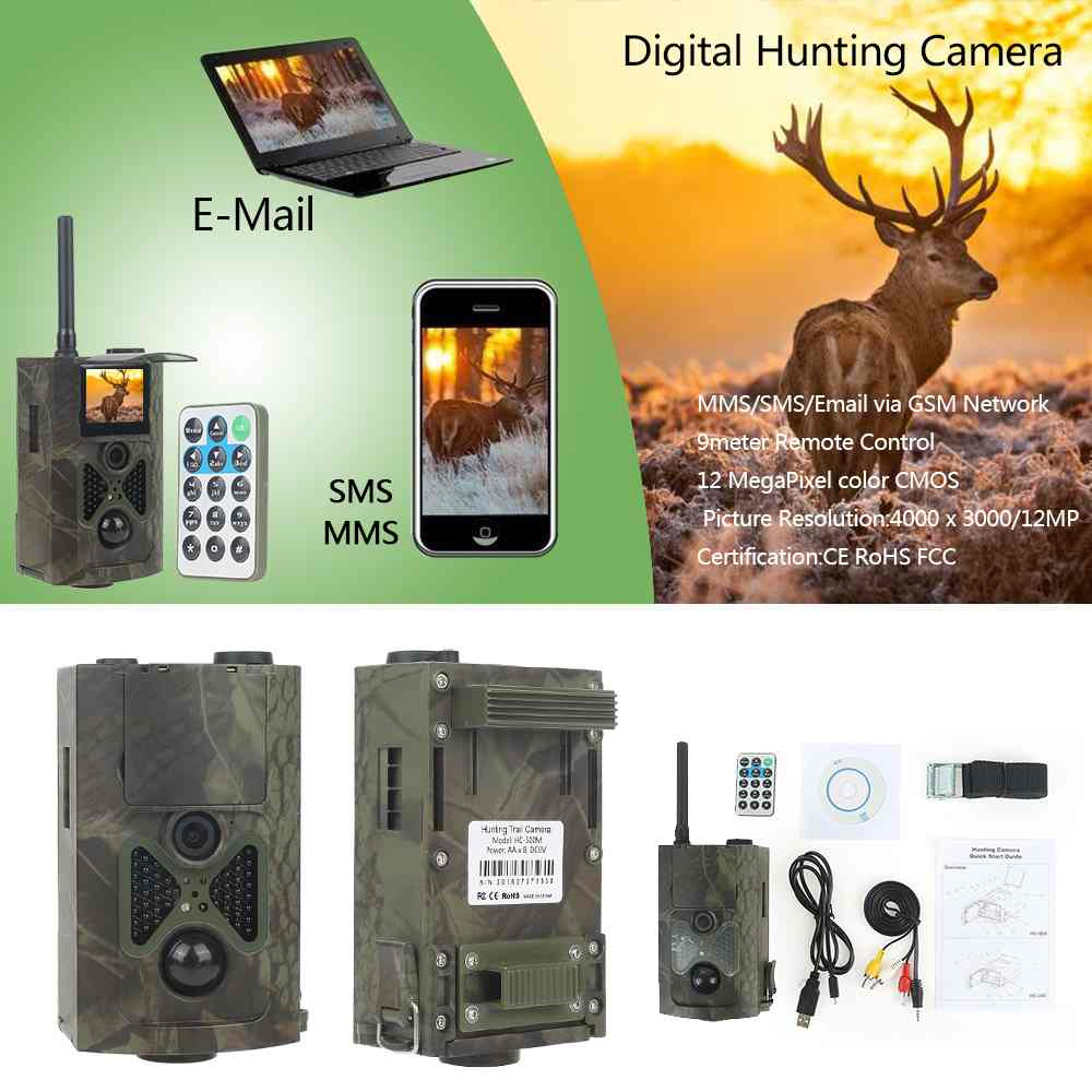 Skatolly Brand HC-500m Outdoor HD Hunting Trail Animal Video Cameras 12MP GPRS IR Day/Night hot rearview mirror+Free shipping! 12mp day
