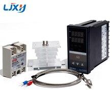 LJXH Doble controlador de temperatura Digital PID REX C400 + 25DA/40DA/75DA relé de estado sólido + 1m M6 rosca termopar K + disipador de calor
