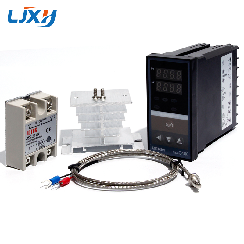 LJXH Dual Digital PID Temperature Controller REX C400 + 25DA/40DA/75DA Solid State Relay + 1m M6 Thread K Thermocouple+Heat Sink|Electric Water Heater Parts| |  - title=