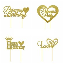 Pack Of 1pc Glitter Gold Birthday Cake Decorations Toppers For 1st Princess Party Happy