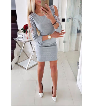 Hirigin Newest Dress Sexy Fashion Women Off Shoulder With Lace Long Sleeve Bodycon Party Evening Mini Pencil Dress Clubwear lace hook patch pencil dress with sleeves